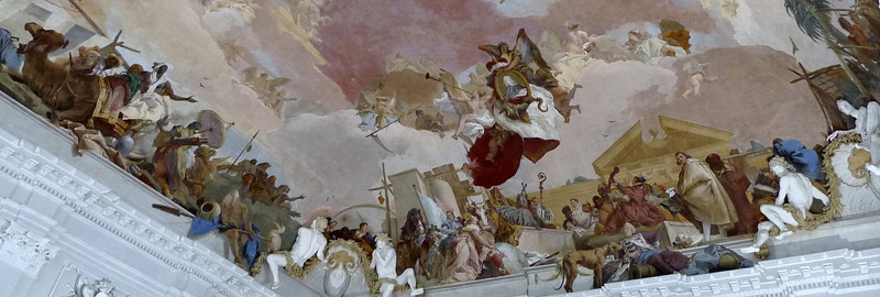 The Venician painter Giovanni Battista Tiepolo decorated the vault with a fresco, showing paintings of the four continents Europe, America, Asia and Africa.