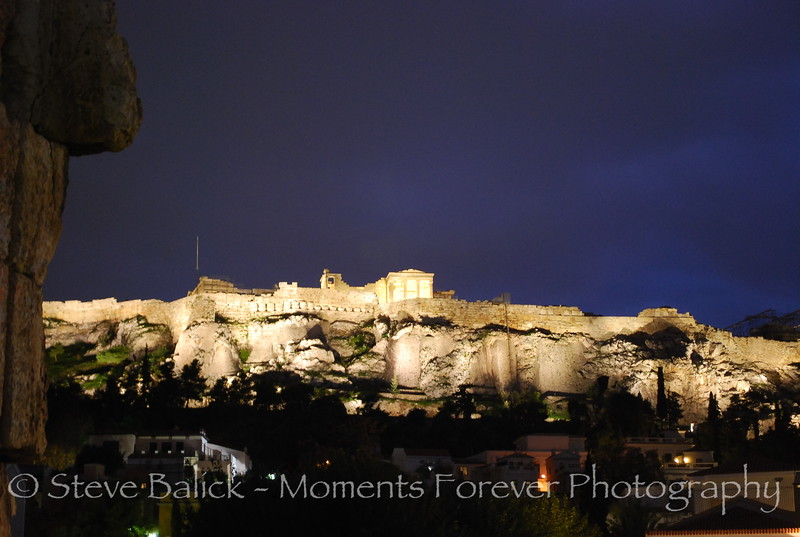 A view of the Acropolis from the flea market in Athens, Greece