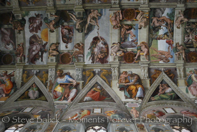 The ceiling in  the Sistine Chapel.  Go figure, no cameras allowed...