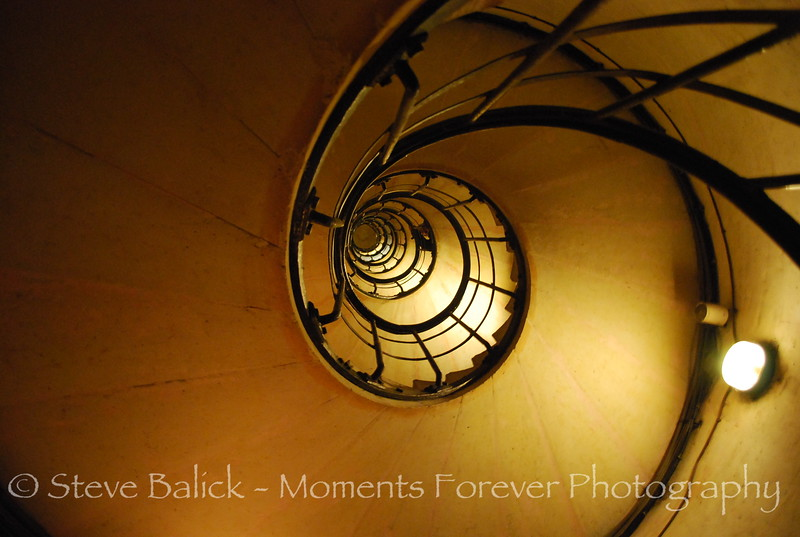 This is the staircase to ascend L'Arc De Triomphe in Paris.  Dizzying, isn't it.  Ok, now YOU climb it !