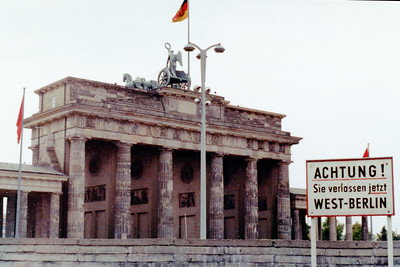 Brandenburg Gate  and the Wall from West Berlin 1967