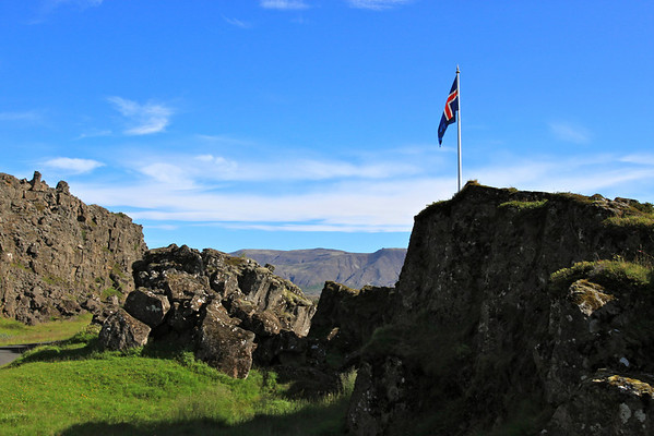 """Law Rock,"" the ancient seat of Icelandic Parliament"