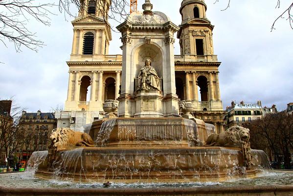 San Sulpice Fountain in the rain Paris, France January 2011