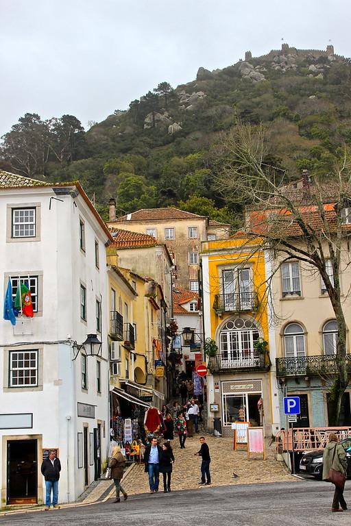 Downtown Sintra, with Moorish castle overhead