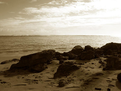 Kaaawa Beach rocks in sepia