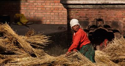 Thrashing grain, Bhaktapur