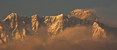 Sunset, Everest and the south-east ridge above Nuptse