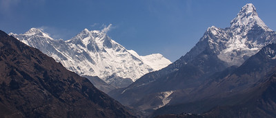 Everest, Lhotse and Ama Dablam from Everest View Hotel