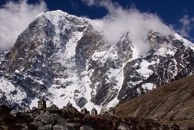 Taweche above memorials, Khumbu Glacier