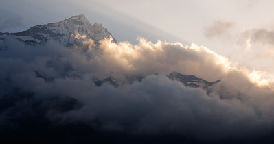 Sunset glow, Kongde Massif above Namche