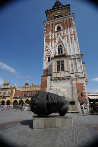 The remains of Krakow's Old Town Hall and a cool, modern sculpture by a Krakow artist in front.