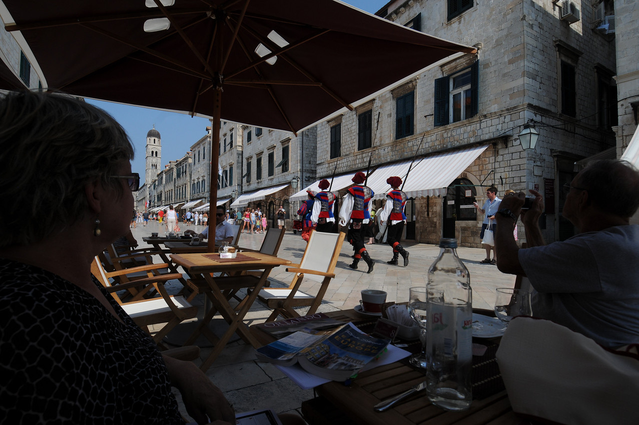 Cheesy attempt by the Dubrovnik Tourist Board to bring more of the old world culture back and have these town guards march around playing the lamest drum beat ever.