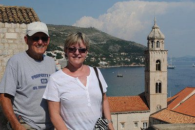 Bunka and Mom on the Old City Wall in Dubrovnik