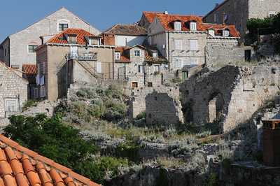 Remains of old buildings that were bombed out int he 1991 conflict with Yugoslavia