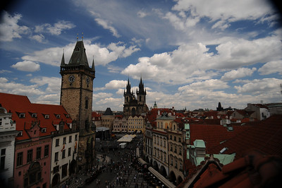 View of Old Town Square in Prague from the roof of U Prince