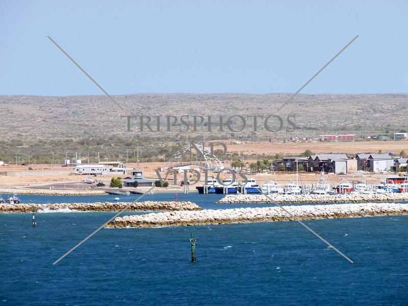 The shore and the marina of Exmouth town on the tip of the North West Cape in Western Australia.