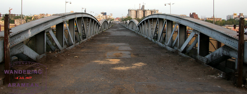 The original Ellis Bridge over the Sabarmati River; new spans are now on either side.