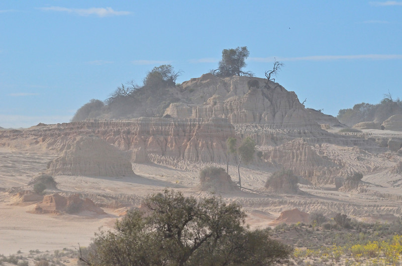 'Walls of China', Mungo National Park.<br /> The haze is due to sand whipping across the dunes on a ferocious wind.