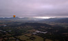 Yarra Valley from a hot air balloon, at dawn.