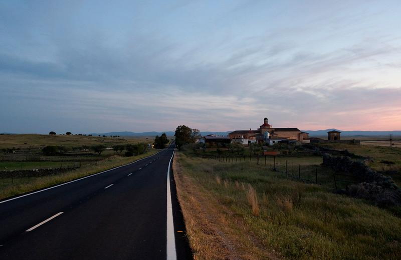 Road Brozas to Herruella with the hotel Convento de la Luz on the right