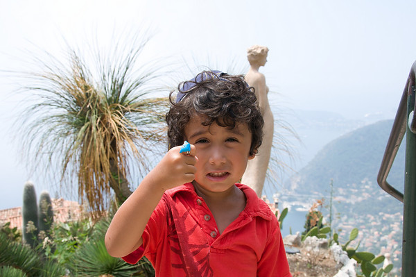 Jaden showing off his new dolphin ring (which broke an hour later).  We're in the beautiful cactus garden of Eze.