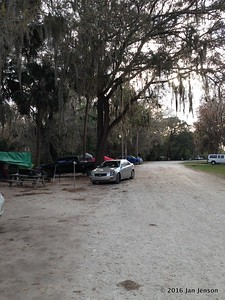 Tent camping areas on both sides of road looking north from the tiki bar @ Wekiva Falls RV Resort, Sorrento, FL - March 2016