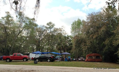 BUSY tent camping area @ Wekiva Falls RV Resort, Sorrento, FL - March 2016