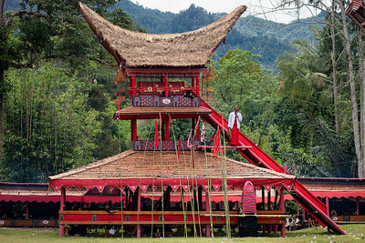 Sulawesi - Toraja Village Funeral Ceremony Site.  Place where they keep casket