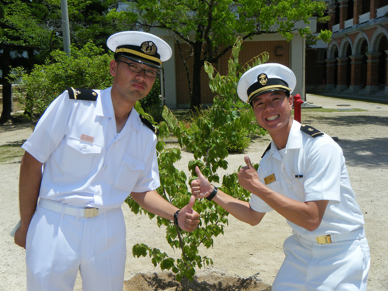 I pose with Takeshi in front of our Japan-US Friendship Tree.
