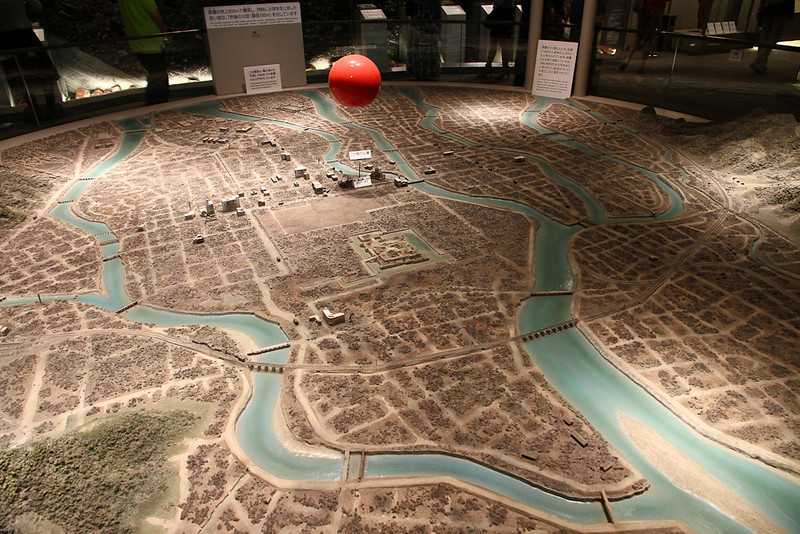 Diorama of the city after the bomb.  The red ball is where the bomb detonated.