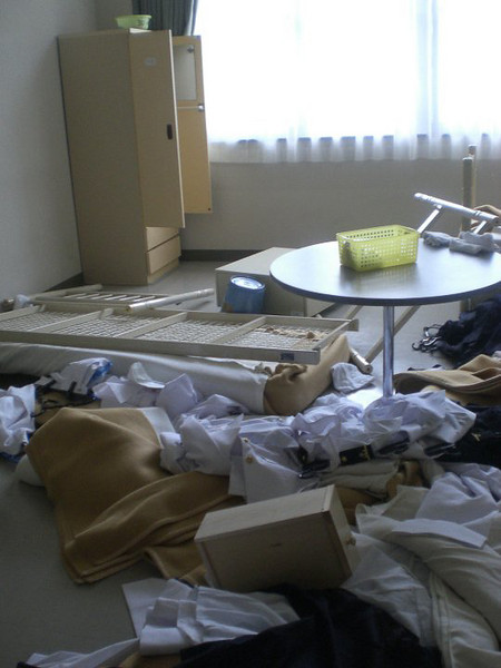 This is what happens if you fail the room inspection.  The officers literally disassemble your bed.  Borrowed from Nicole Uchida.
