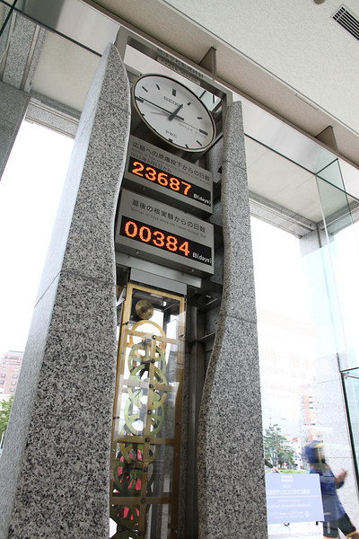 This clock counts the time since the last atomic bomb test.