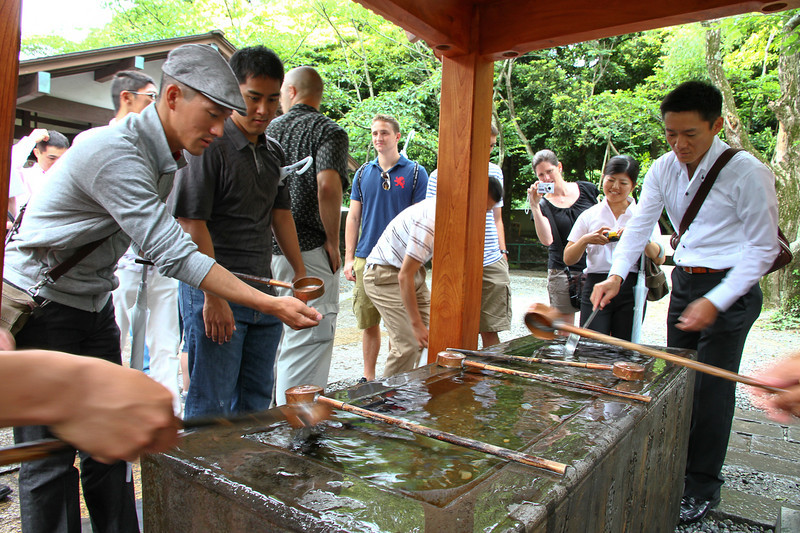 Before entering a temple, we must purify ourselves first by washing our hands and mouths.