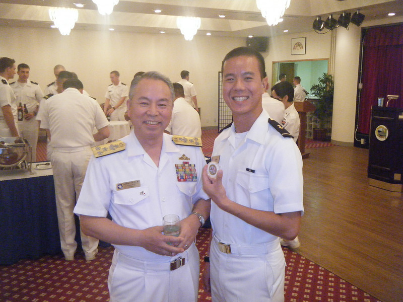 I recieved a challenge coin from Commander-in-Chief Self Defense Fleet, Japan Maritime Self- Defense Force, Vice Adm. Masahiko Sugimoto for answering a naval history question.