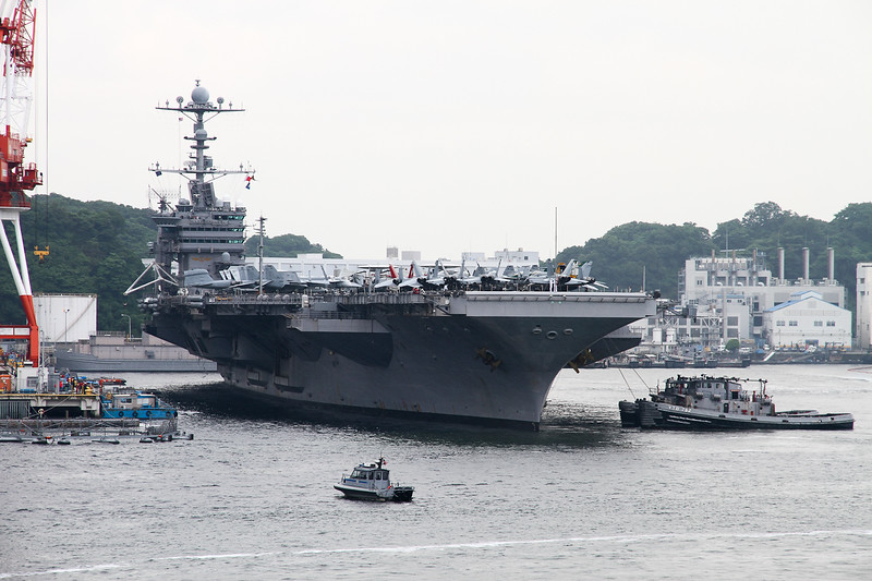 USS George Washington and her escorts returning to Yokosuka.