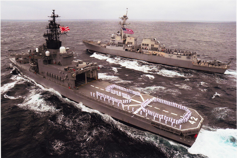 Aerial photo of USS Mustin and JS Hiei, taken by Kanzaki Hiroshi.