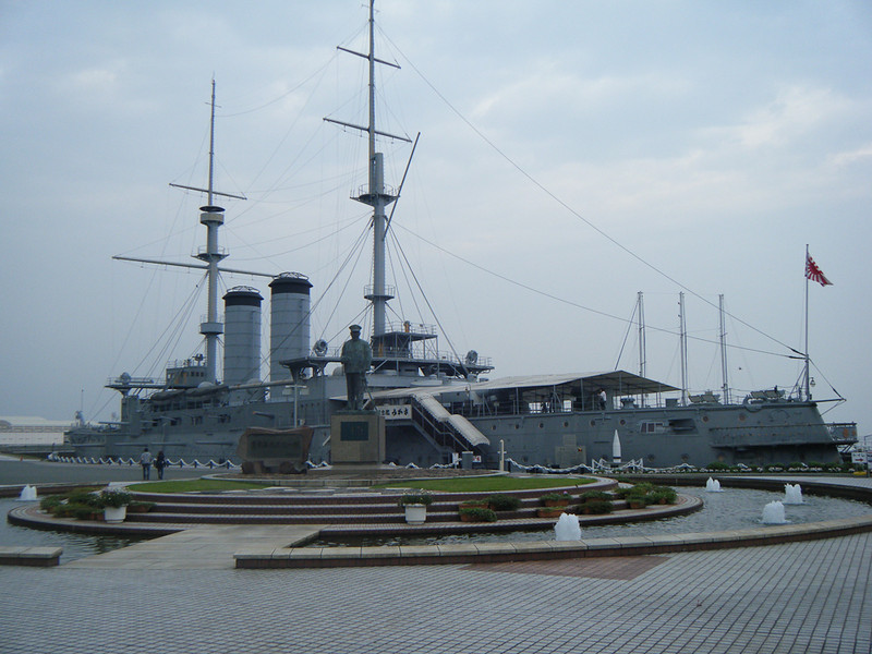 The Japanese battleship Mikasa.  It's permanently grounded, I always thought it was a floating museum like most of the ships in the US.