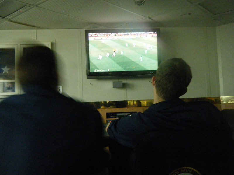 Watching USA vs Algeria in the world cup at 3AM in the wardroom.