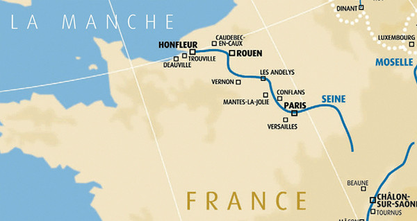 The Seine River runs from near Dijon in the Eastern part of France, right through the middle of Paris, then meanders North West to the English Channel near Honfleur.