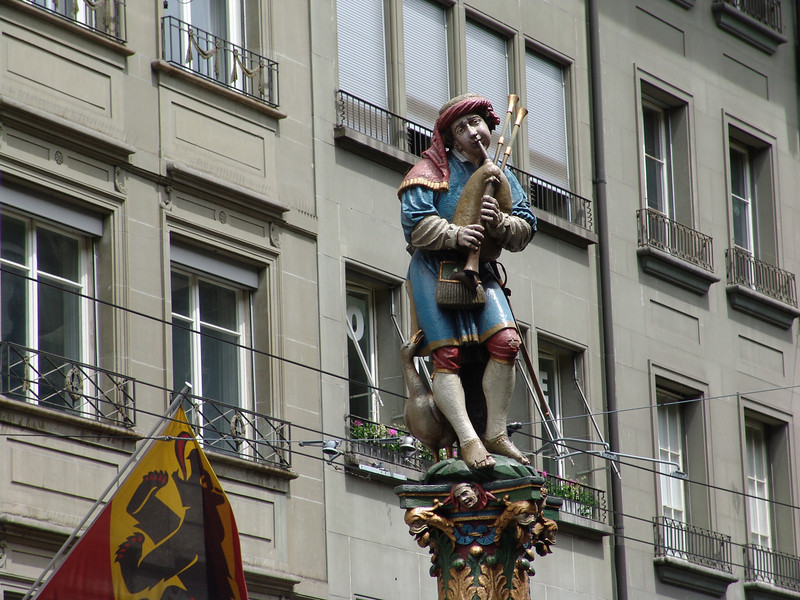 Piper statue in Bern, Switzerland.  On way to Chamonix