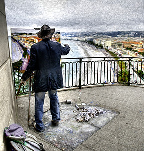 """WHAT THE PAINTER SEES"", VIEW FROM CASTLE HILL, NICE, FRANCE"