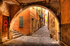 ARCHED OLD TOWN STREET, VILLEFRANCHE-SUR-MER, FRANCE