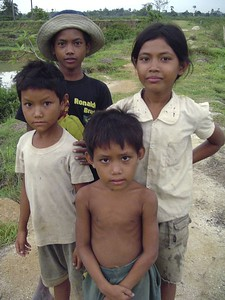 Young Cambodian kids at the Killing Fields