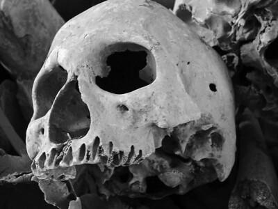 Human skull at Toul Sleng Prison Museum in Phnom Phen, Cambodia