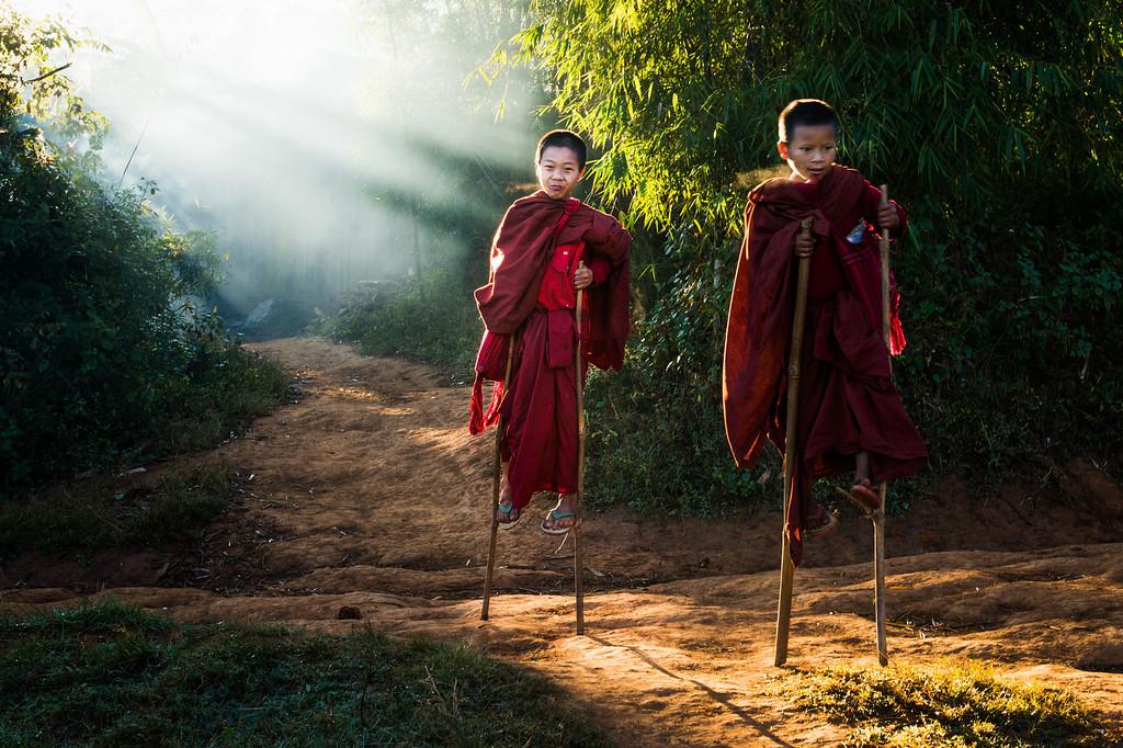 Monk Novices on Stilts