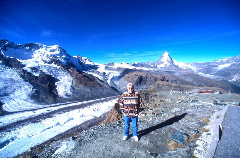 Joyce on the Gornergrat - Matterhorn in background