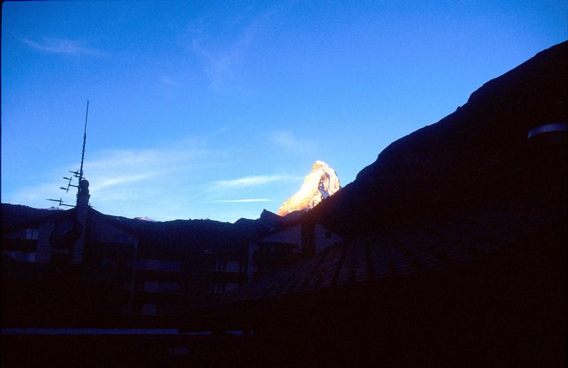 The Matterhorn from the balcony of the Schlosshotel Tenne in Zermatt. One of a series of pictures taken at dawn.