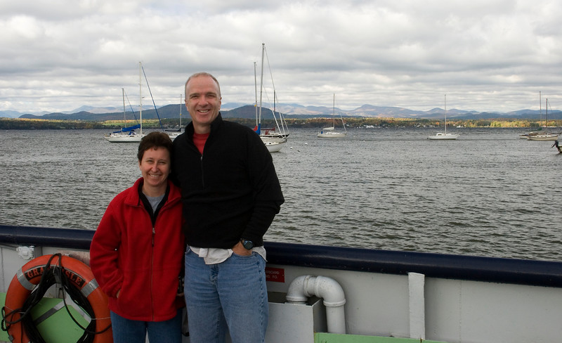 Myra and Rick on the Charlotte - Essex Ferry.
