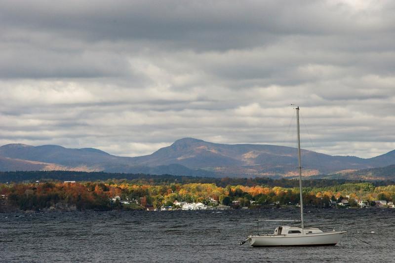 Adirondacks from the Charlotte - Essex Ferry on Lake Champlain.