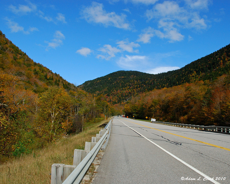 Looking up Rt. 302 into the notch at Willey Brook